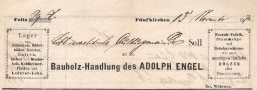 Engel Adolf fakereskedésének számlafejléce. (Nagyítható.)