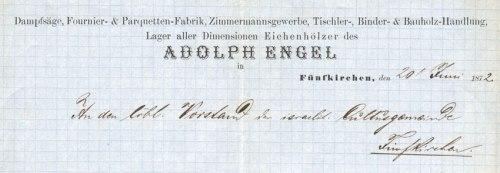Adolf Engel fakereskedésének fejléce 1882-ből.