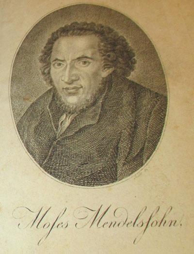 Moses Mendelson (1729-1786) portréja  az egyik belső borítón.