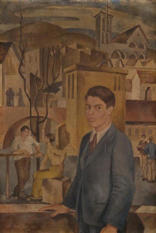 Király Lajos: Önarckép Pécsett (Diákélet), 1938