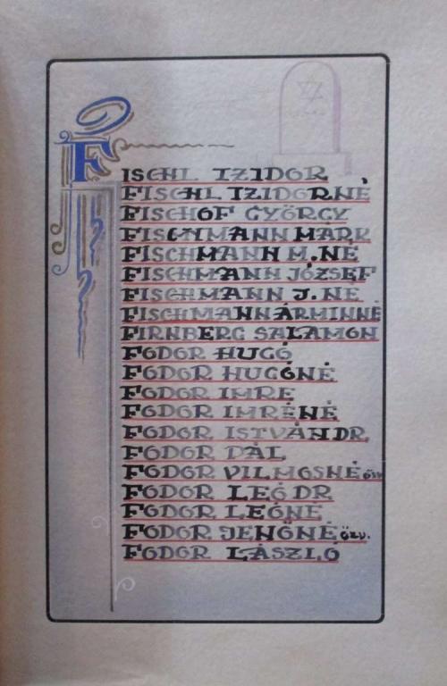 Dr. Fodor Leó és felesége neve a Pécsi Zsidó hitközség áldozatainak nevét tartalmazó