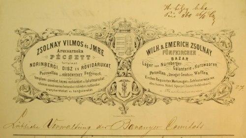 A Zsolnay-féle kereskedőház számlafejléce 1868-ból. Az eredeti megtalálható a Magyar  Nemzeti Levéltár Baranya Megyei Levéltárban.