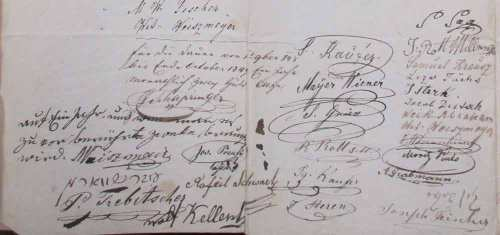 Egy 1848-as határozaton szereplő aláírások. Aki  nem volt jelen, vagy nem fogadta el a többségi döntést és nem írta alá, arra is vonatkozott.