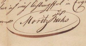 Moritz Fuchs aláírása 1846. augusztus végén.