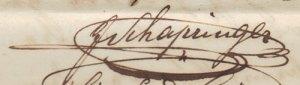 Joachim Schapringer aláírása 1850. március 4-én.