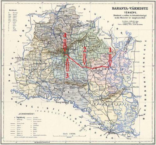 Dr. Hirschfeld főrabbi baranyai útja: 1) Mohács; 2) Nyomja; 3) Üszög; 4) Pécs. A kép kattintással nagyítható.