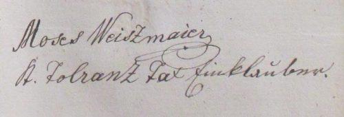 Moses Weiszmaier, Tolerenz Tax Einklauber. Aláírás: 1840 február