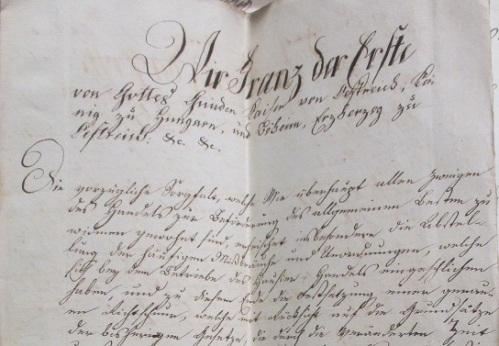 Az ügy iratai mellett megtalálható I. Ferencnek a házalást szabályozó rendelete is kézírásos másolatban.