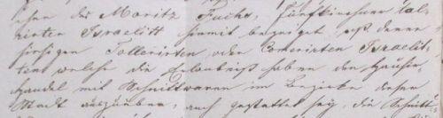 Pest szabad királyi város Moritz Fuchsnak írt igazolása arról, hogy náluk a házaló tolerált és kommoráns zsidók otthonukban is árulhatnak. Részlet. Kattintással nagyítható.